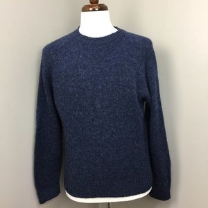 LL Bean Blue Wool Crew Neck Mens Pullover Sweater